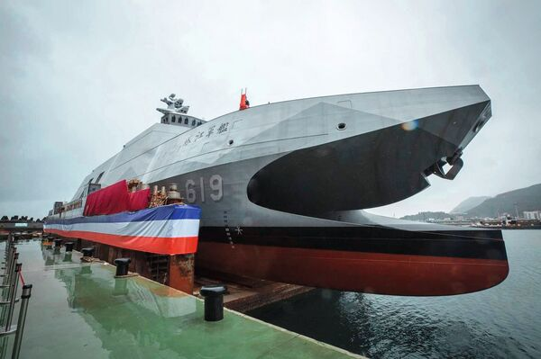 Taiwan's Lungteh Shipbuilding launched          Ta Chiang         , the first series-production Tuo Chiang-class fast missile corvette on order for the RoCN, on 15 December 2020. The vessel is now expected to be commissioned in August 2021.        (Via President Tsai Ing-wen's Twitter account)