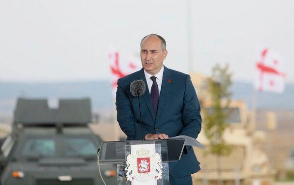 وزير الدفاع الجورجي جوانشير بورشولادزه أثناء تقديم خطة عمل قوات الدفاع الجورجية 2020-30 يوم 22 يوليو.  (وزارة الدفاع الجورجية)