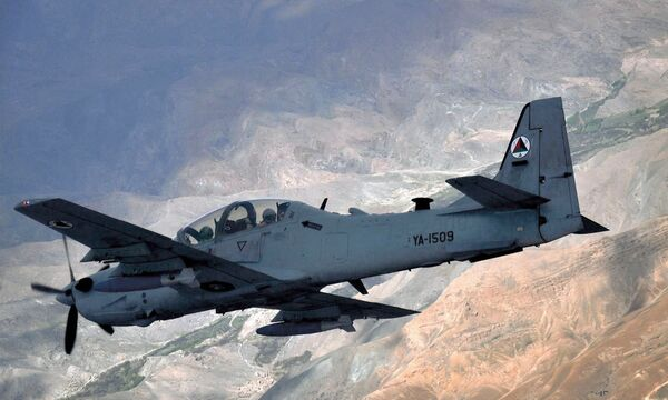 An Afghan Air Force (AAF) A-29B Super Tucano light attack aircraft. More than 40 AAF aircraft have been flown to Uzbekistan to prevent them from falling in the hands of the Taliban after the group regain control over Afghanistan on 15 August. (USAF 438th Air Expeditionary Wing)