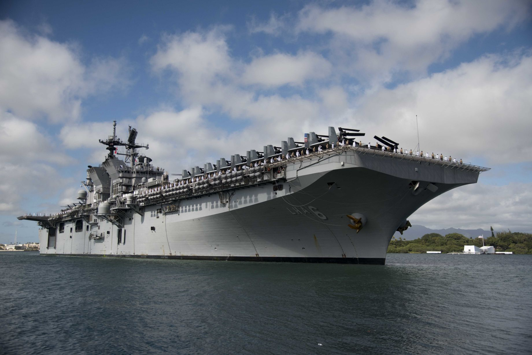 Amphibious assault ship USS         America         (LHA 6) will be forward-deployed to Japan.        (USN)