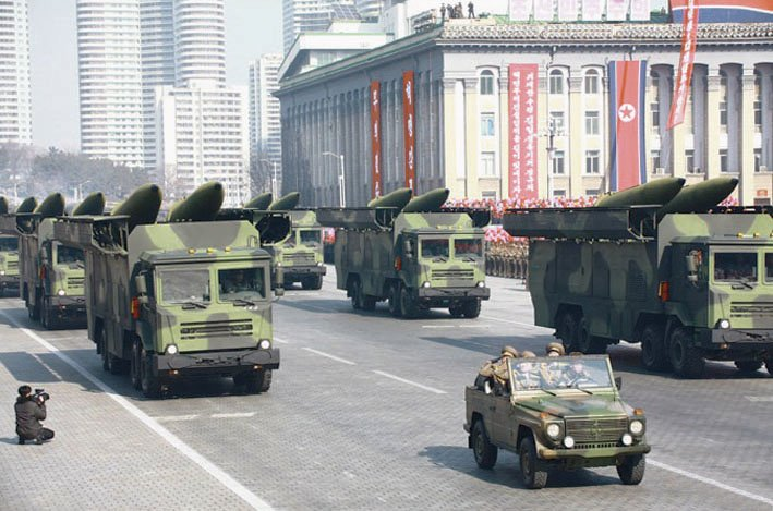 In February 2018 North Korea paraded six apparent TELs carrying missiles that resemble the ones test-fired on 9 and 4 May 2019. (KCNA)
