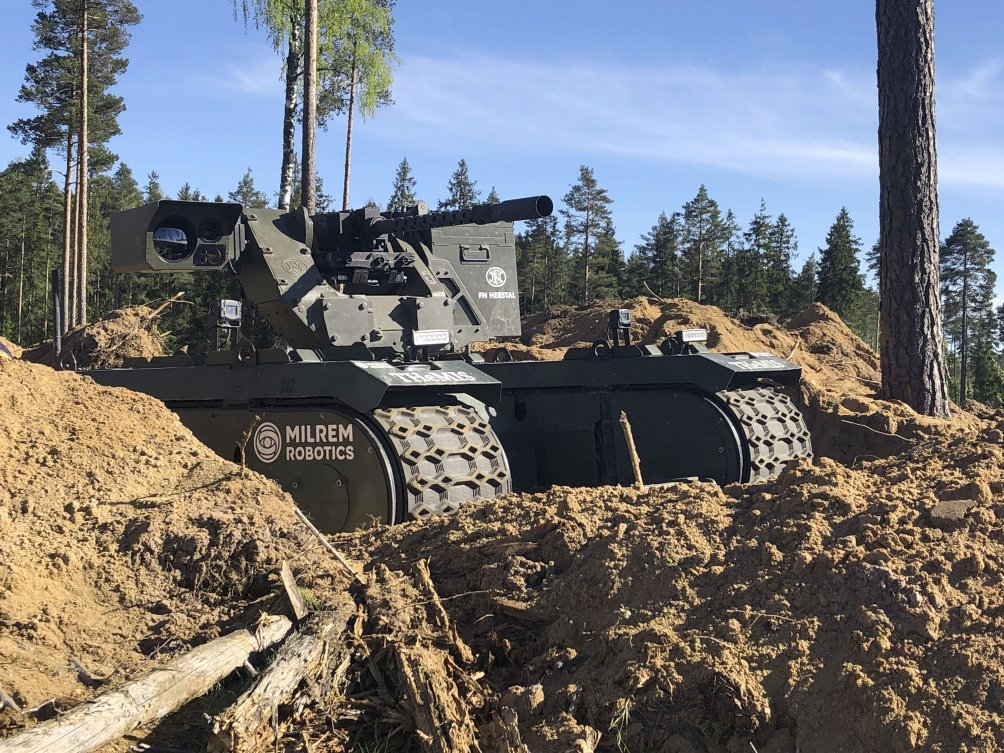 An armed variant of the THeMIS unmanned ground vehicle was deployed to support troop manoeuvres in NATO's 'Spring Storm' exercise. (Milrem Robotics)