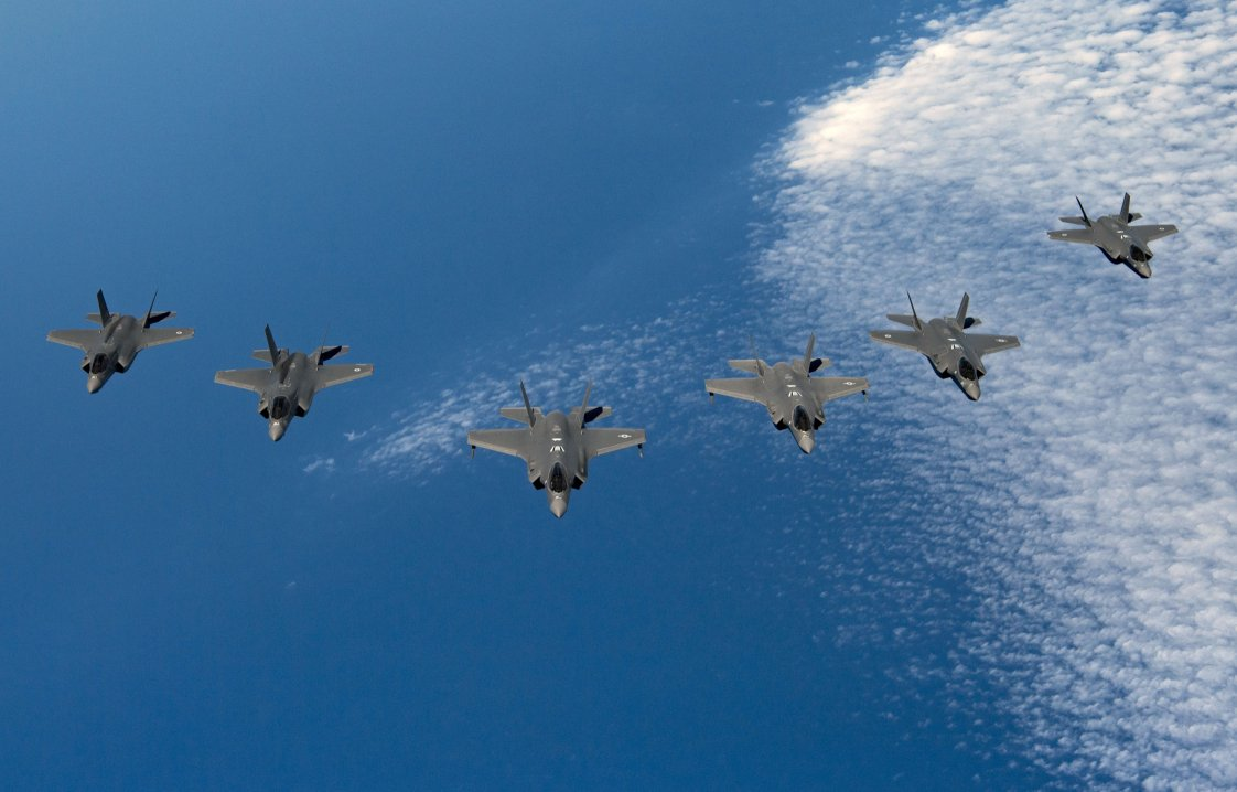 F-35s from Israel, the UK, and the US came together for a first trilateral training exercise on 25 June. (US Air Force)