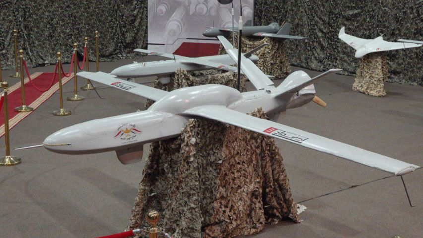 A Sammad-3 long-range UAV with the bulge over its wing box is seen in front of a smaller Sammad-2. (Ansar Allah)