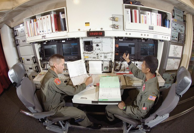 A USAF missile combat crew on alert at an underground ICBM control centre. The service's plans to replace its ageing Minuteman III missiles could be adversely affected by Boeing's decision to withdraw from the effort. (US Air Force)