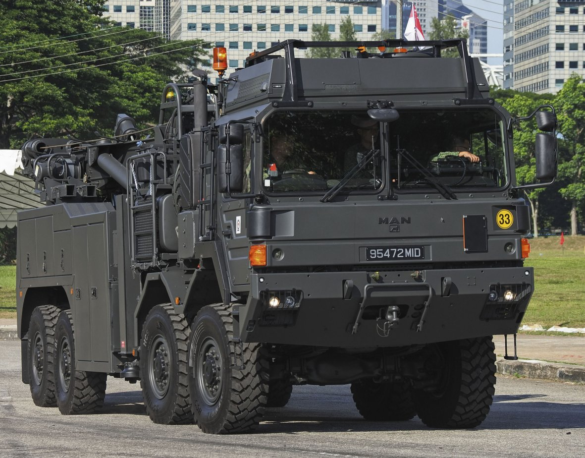 The Singapore Army unveiled on 9 August the new WRV, which has a 35 tonne winch-and-tow capacity and can support the entire fleet of wheeled vehicles in service. (IHS Markit/Kelvin Wong)