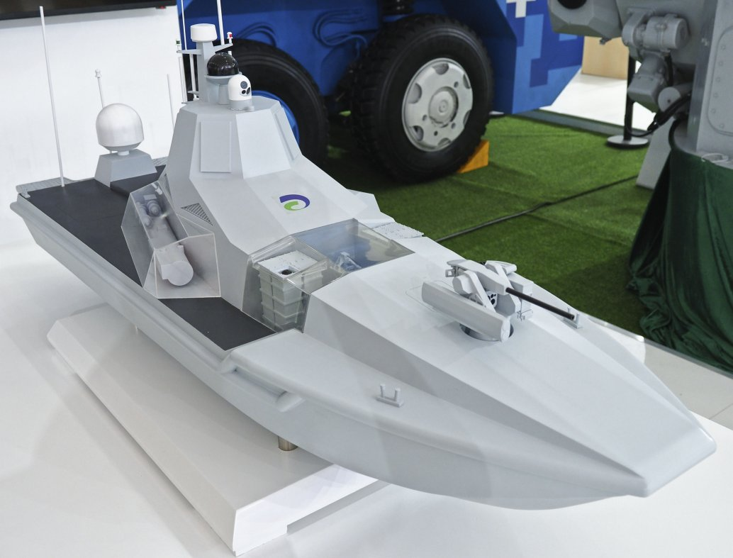 A scale model of the JARI multirole USV seen at the Airshow China 2018 exhibition in Zhuhai. It's proposed surface, sub-surface, and anti-air weapons are clearly shown. (IHS Markit/Kelvin Wong)
