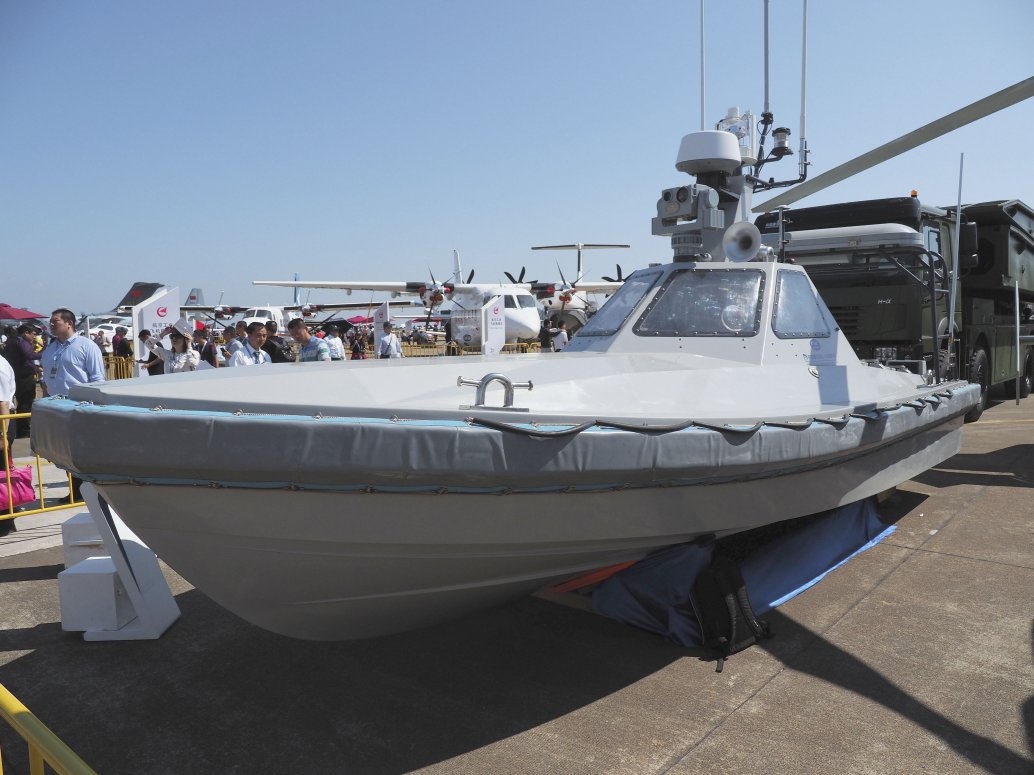 A JARI USV technology demonstrator was displayed at the Airshow China 2018 defence exhibition in Zhuhai. (IHS Markit/Kelvin Wong)
