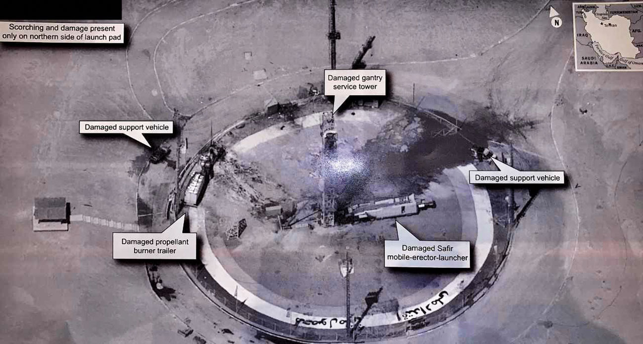 A satellite image tweeted by Trump on 30 August shows the aftermath of an explosion on the Safir launch pad at Iran's Imam Khomeini Space Centre. (President Donald Trump)