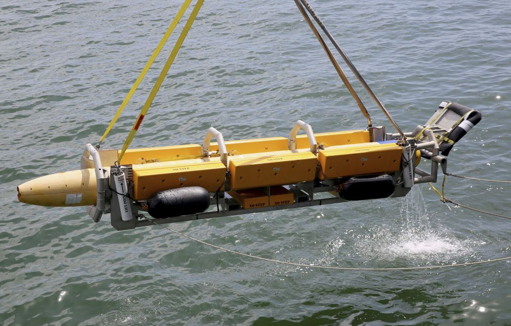 The UUV Knifefish was tested aboard Expeditionary Sea Base USNS         Hershel Williams         (T-ESB 4).        (US Navy)