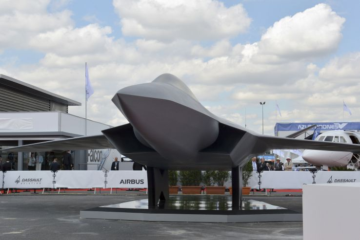 A full-scale mock-up of the New Generation Fighter concept was showcased by Dassault on the opening day of the Paris Air Show. (IHS Markit/Gareth Jennings)