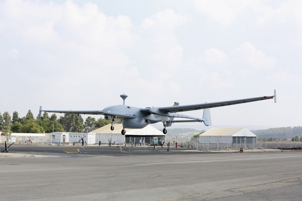 A Heron 1 UAV is seen taking off with an underbelly pod housing a maritime surveillance radar. A similar pod has been seen with at least one of the Heron 1 air vehicles deployed by the Republic of Singapore Air Force at Exercise 'Forging Sabre' 2019 in a deleted image seen by Jane's (Israel Aerospace Industries)