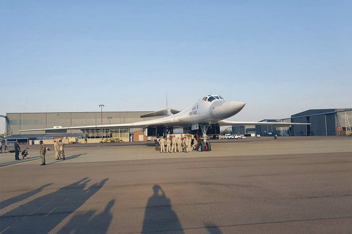 One of the two Tu-160 'Blackjack' bombers that, along with a support package of other aircraft, arrived in South Africa for the first time on 23 October. (Ministry of Defence of the Russian Federation)