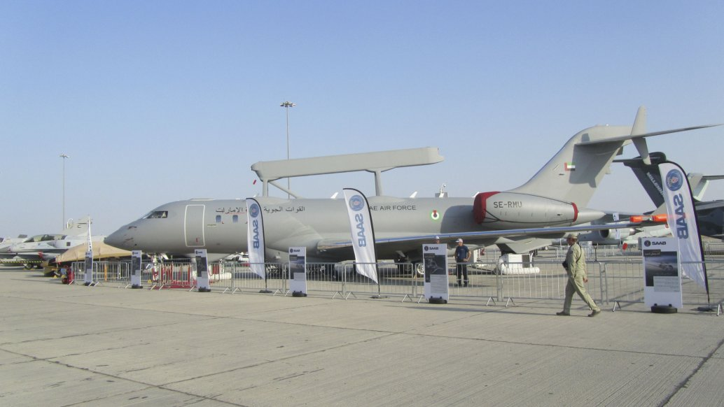 The UAE's third Saab GlobalEye was displayed at the Dubai Airshow, with the UAE revealing advanced discussions for a further two aircraft. (Charles Forrester/IHS Markit)
