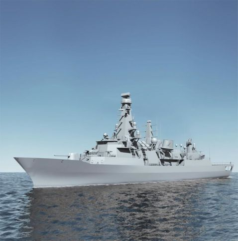 A computer-created graphic image showing a Barbaros-class frigate after the MLU is completed. (SSB)