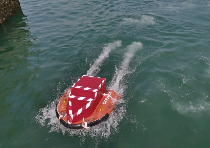 The Dolphin USV seen with a prototype BacPac sea transfer module during recent trials.  (Zycraft)