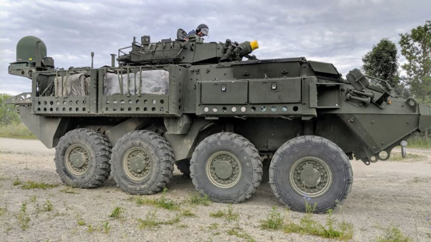 A Canadian LAV 6.0 is shown fitted with the ELSAT 2100 satcom on-the-move system. (Elbit Systems)