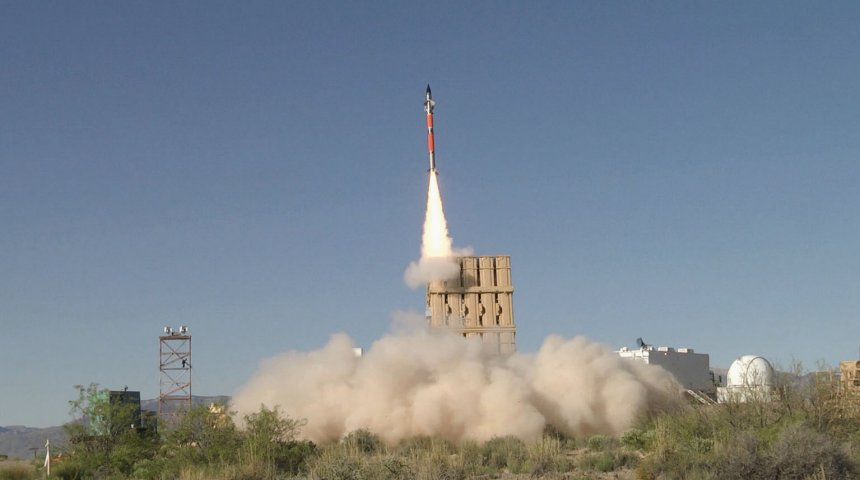 "A Tamir missile shown launching from the US Army's new air-defence platform, the IFPC 2-Intercept multi-mission launcher. The USMC is moving forward with plans to integrate Iron Dome components, including the Tamir missile, into its medium-range intercept capability but the army said it has a variety of concerns and will now host a ""shoot off' for its IFPC Inc 2 effort.  (US Army/John A Hamilton)"