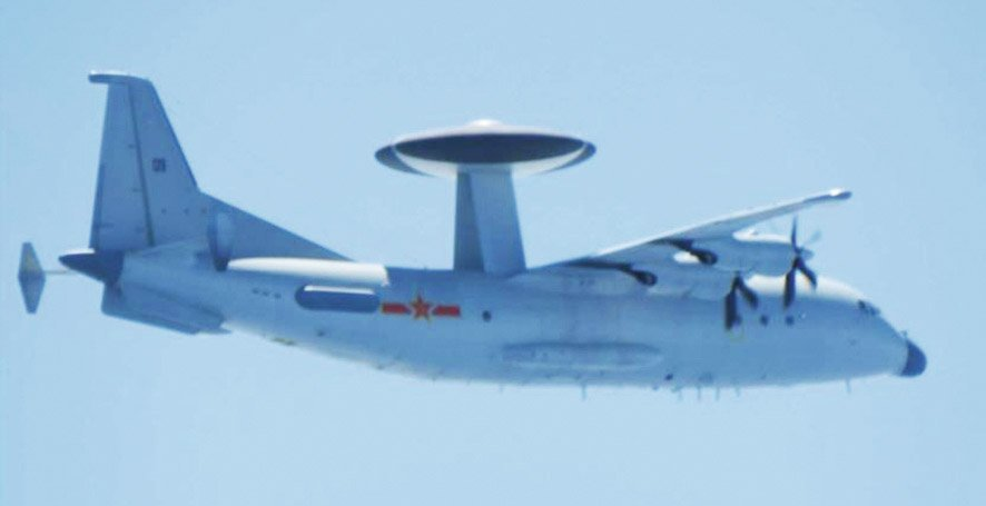A Chinese Y-9 airborne early warning and control aircraft spotted by the JASDF flying over the East China Sea on 23 March 2020. (Japanese MoD)