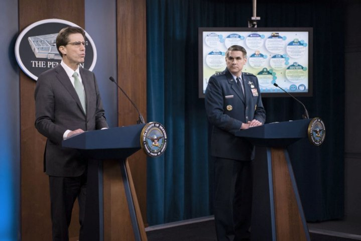 Department of Defense Chief Information Officer Dana Deasy and US Air Force Lieutenant General B J Shwedo, Joint Staff chief information officer, hold a 13 April briefing at the Pentagon on cyber-security efforts during coronavirus disease mitigation operations. (Department of Defense )