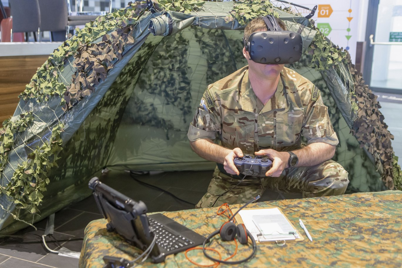 The OP module in D3A Defence's mortar training simulator showing an MFC with a head mounted display and using virtual target detection and acquisition equipment. (MetaVR)