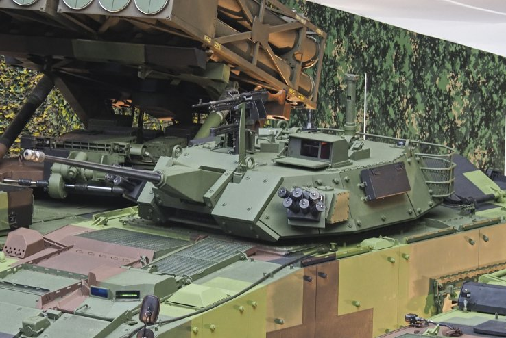 The CM-34 IFV's protected turret seen here armed with a 30 mm Mk44 Bushmaster II cannon. (Jane's/Kelvin Wong)