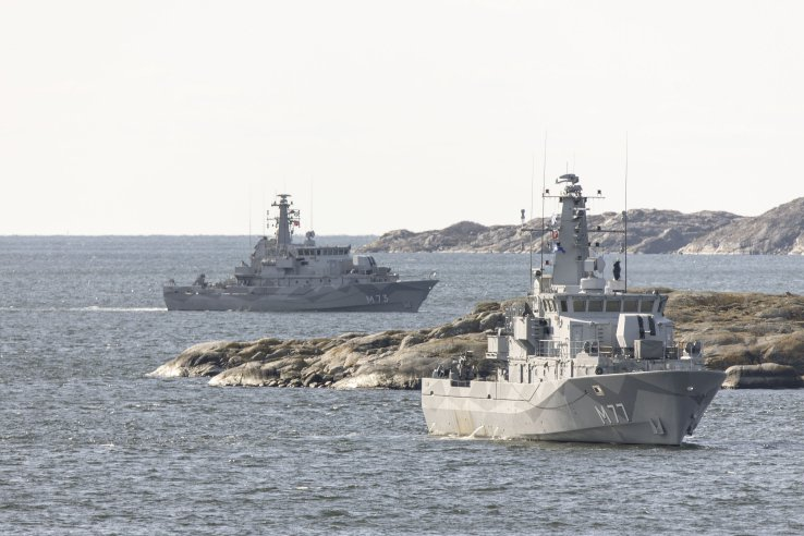 The RSwN Koster-class minehunting vessels HSwMS         Ulvön         (foreground) and HSwMS         Koster         are pictured at sea during the service's recent national anti-submarine warfare exercise ('ASWEX') off Gothenburg. 'ASWEX', which took place in strategically critical waters, went ahead despite the continuing Covid-19 crisis.        (RSwN)