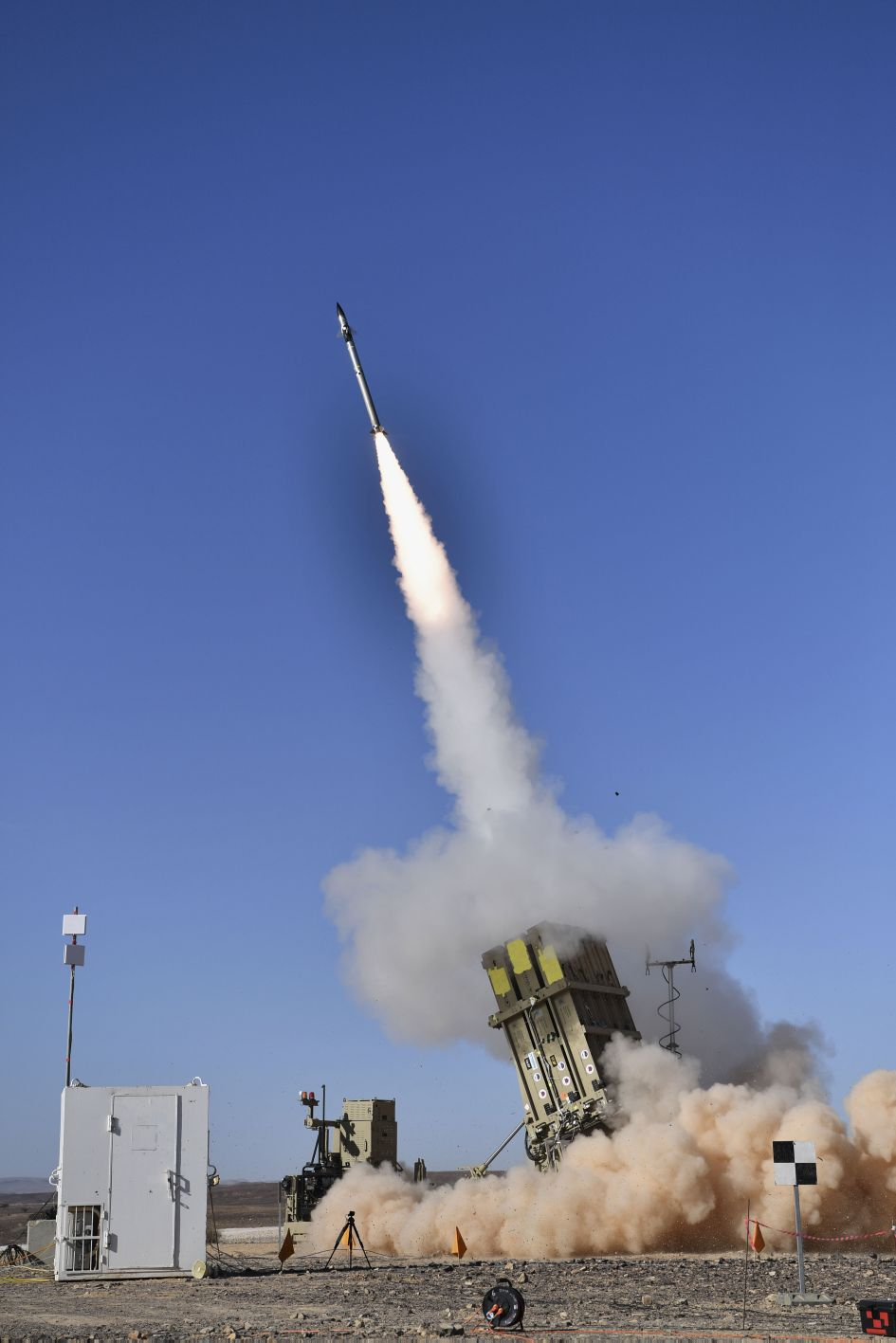 A Tamir missile is fired from an Iron Dome launcher during a test. The US Army said that it could field two Iron Dome batteries in 2021. (Israeli Ministry of Defense)