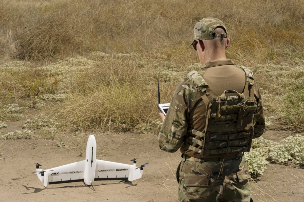 The new Quantix Recon VTOL UAV is being offered for military applications. (AeroVironment)