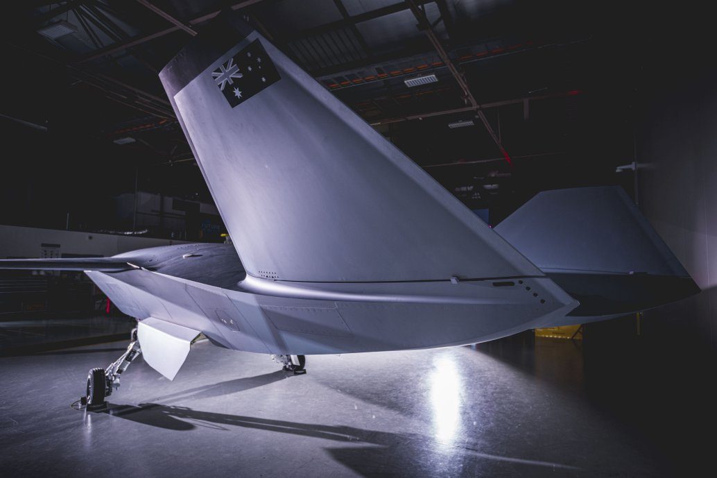 The Loyal Wingman unmanned aircraft, the first prototype of which was rolled out on 5 May (seen here), is expected to have a range of more than 3,700 km. (Boeing)