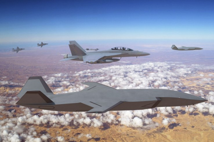 A computer-generated image showing a Boeing F/A-18 multirole fighter flying alongside four Loyal Wingman unmanned aircraft. (Boeing)