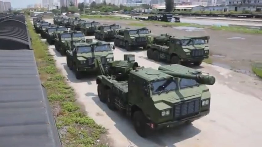 A screengrab from a CCTV 7 report shows at least 14 PLC-181 SPHs in service with a PLA artillery brigade in the Eastern Theatre Command.