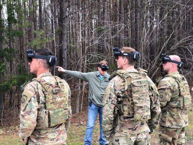 US Army soldiers using their IVAS HUD, based on the Microsoft HoloLens, during a test event.