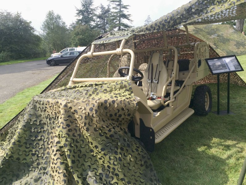 A Polaris Defense MRZR Special Operations Vehicle camouflaged by Saab's Barracuda system. USSOCOM has awarded Polaris with a seven-year, follow-on contract for its MRZR Alpha LTATV.