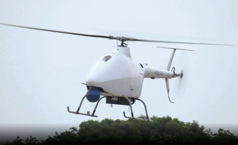 The AR500C/AV500C VTOL UAV seen with a dummy EO/IR payload during its maiden flight on 20 May.