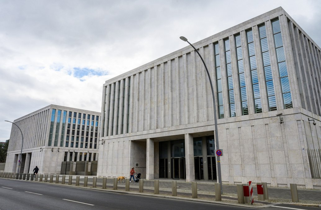 A view of the main entrance of the headquarters of Germany's Federal Intelligence Service (BND) in Berlin, on 19 May 2020. Germany's top court ruled on 19 May that the BND could not collect communications data from foreigners in Germany.