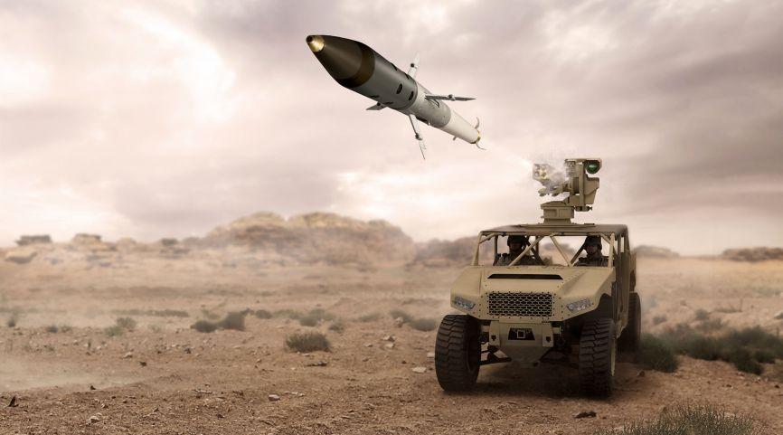 Representación artística de un lanzamiento APKWS II desde un Lanzador de cohetes guiado por láser de 2.75 pulgadas / 70 mm de Arnold Defense Land-LGR4 'Fletcher' para vehículos terrestres.