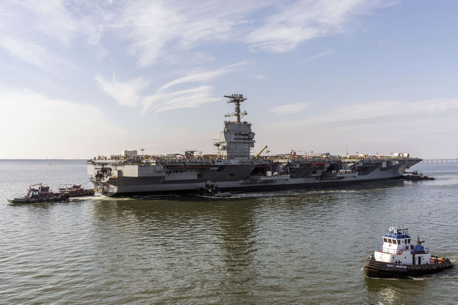 Huntington Ingalls Industries' Newport News Shipbuilding launched aircraft carrier          John F Kennedy          on 16 December 2019.        (Huntington Ingalls Industries)
