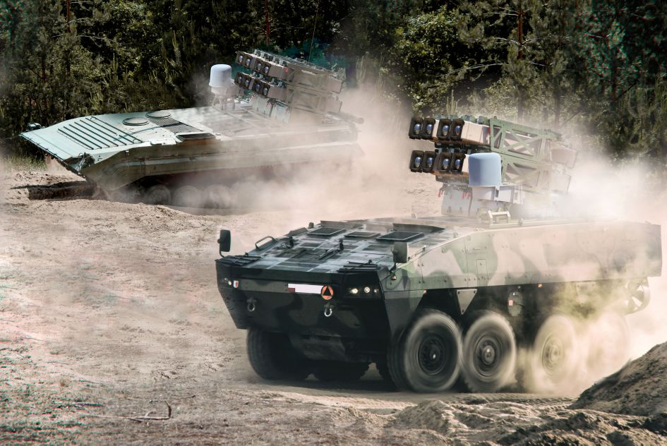 Rafael's Spike NLOS can be integrated into both wheeled and tracked platforms, including Poland's Rosomak 8×8 armoured personnel carrier (foreground) and BWP-1 infantry fighting vehicle (background).  (Rafael Advanced Defense Systems )