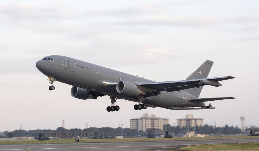 A Boeing KC-46A Pegasus takes off from Yokota Air Base, Japan, on 28 October 2018. General David Goldfein, USAF chief of staff, believes the KC-46A will overcome its troubled development to become an essential platform as did the C-17, which was once threatened to be cancelled early. (US Air Force)