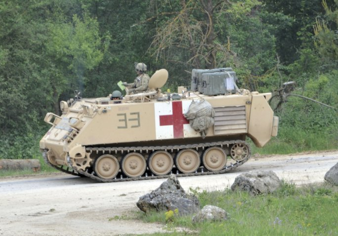 The US Army has based its RCV surrogates on the M113 armoured personnel carrier chassis. The service is set to begin a RCV soldier operational experiment at Fort Carson, Colorado, in July.  (Janes/Patrick Allen)