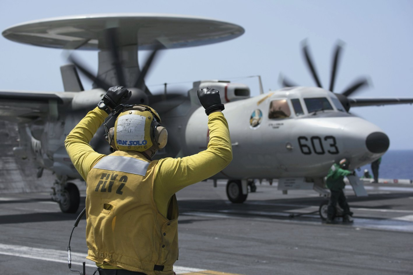 Seen here in US Navy service, the E-2D Advanced Hawkeye is set to join the French Navy also as a replacement for that service's E-2C platforms. (US Navy)