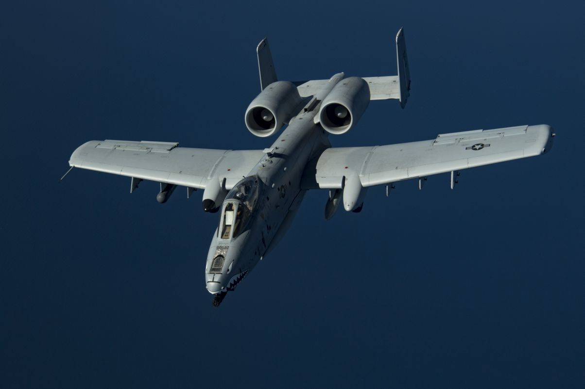An A-10C flies above the US Central Command area of responsibility on 17 January. The USAF is adding the platform to its ERCM effort that uses AI and machine learning to better understand part failure rates. (US Air Force)