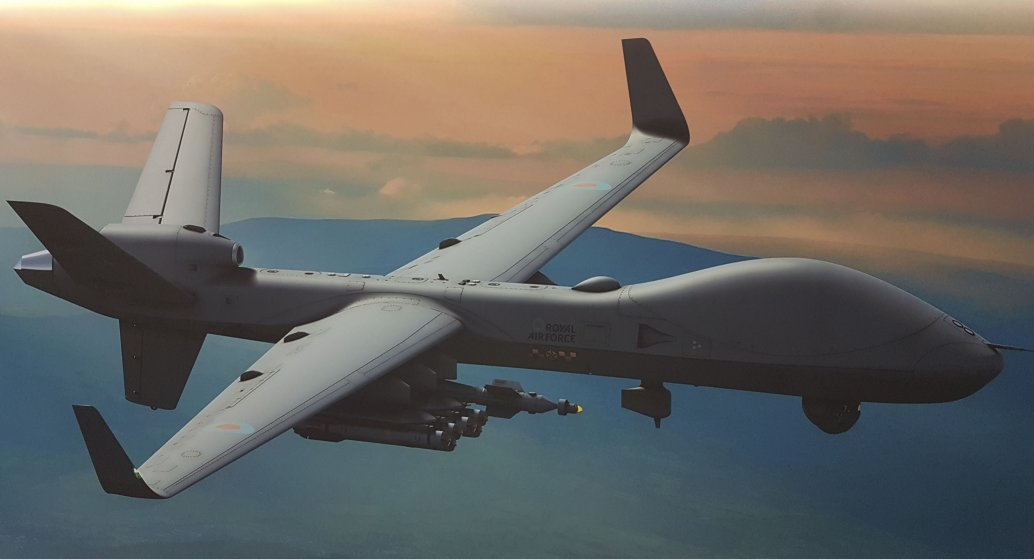 The UK has now signed for delivery of the first three of an initial 16 Protector RG1 UAVs. The country has a stated requirement for 20, although a US Defense Security Cooperation Agency notification of the proposed sale has put the number at 26. (General Atomics via Jane's/Gareth Jennings)