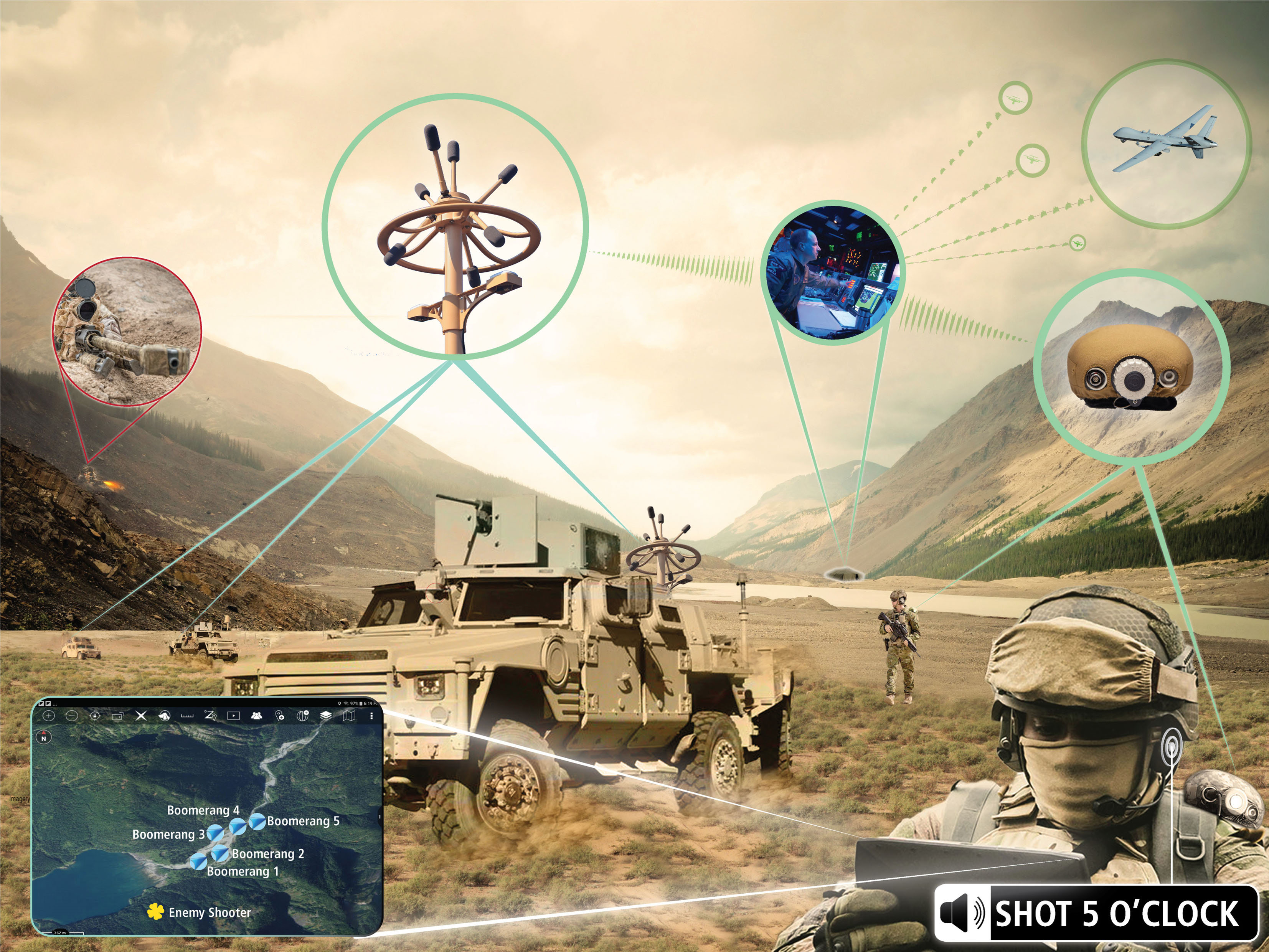 An informational graphic by Raytheon depicting integration of the Boomerang shot detection programme with the US Army's Android Team Awareness Kit. (Credit: Raytheon)