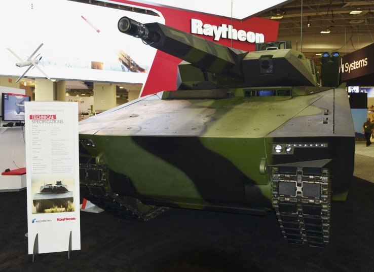 Raytheon and Rheinmetall showcase the Lynx IFV at AUSA 2018 in Washington, DC. In May, the team told Janes that it planned to modify the vehicle prototype for the US Army's new OMFV competition. (Janes/Patrick Allen)