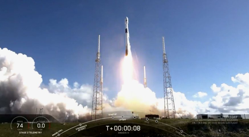 A screengrab from video footage showing the launch of South Korea's first dedicated military communications satellite, ANASIS-II, on 20 July from Cape Canaveral Air Force Station aboard a Falcon 9 two-stage rocket from SpaceX. (SpaceX)
