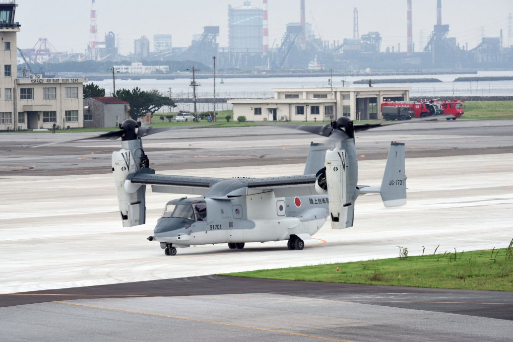 The JGSDF's second Bell Boeing MV-22B Osprey tiltrotor aircraft is seen here shortly after arriving at Camp Kisarazu in Chiba Prefecture on 16 July. (JGSDF)