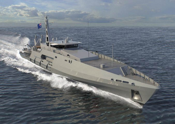 "A computer-generated image of a Cape-class patrol boat. Austal announced on 22 July that it had ""cut metal"" for the second of six 'evolved' boats of the class for the RAN. (Austal)"