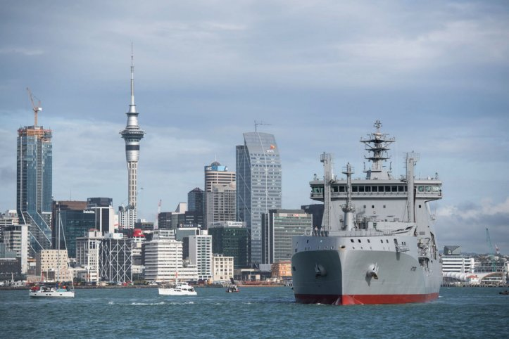 Aotearoa         , the RNZN's new fleet tanker/replenishment vessel is seen here sailing into Auckland Harbour on 26 June following a 15-day journey from the South Korean coastal city of Ulsan. The vessel was commissioned on 29 July in a ceremony held at Devonport Naval Base.         (RNZN)
